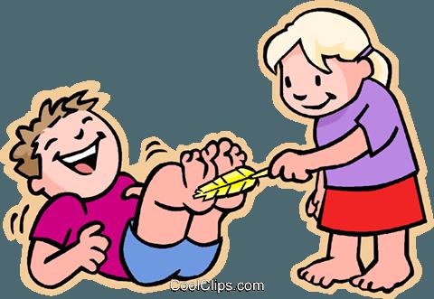 Mädchen kitzeln Junge auf Füßen Vektor Clipart Bild.