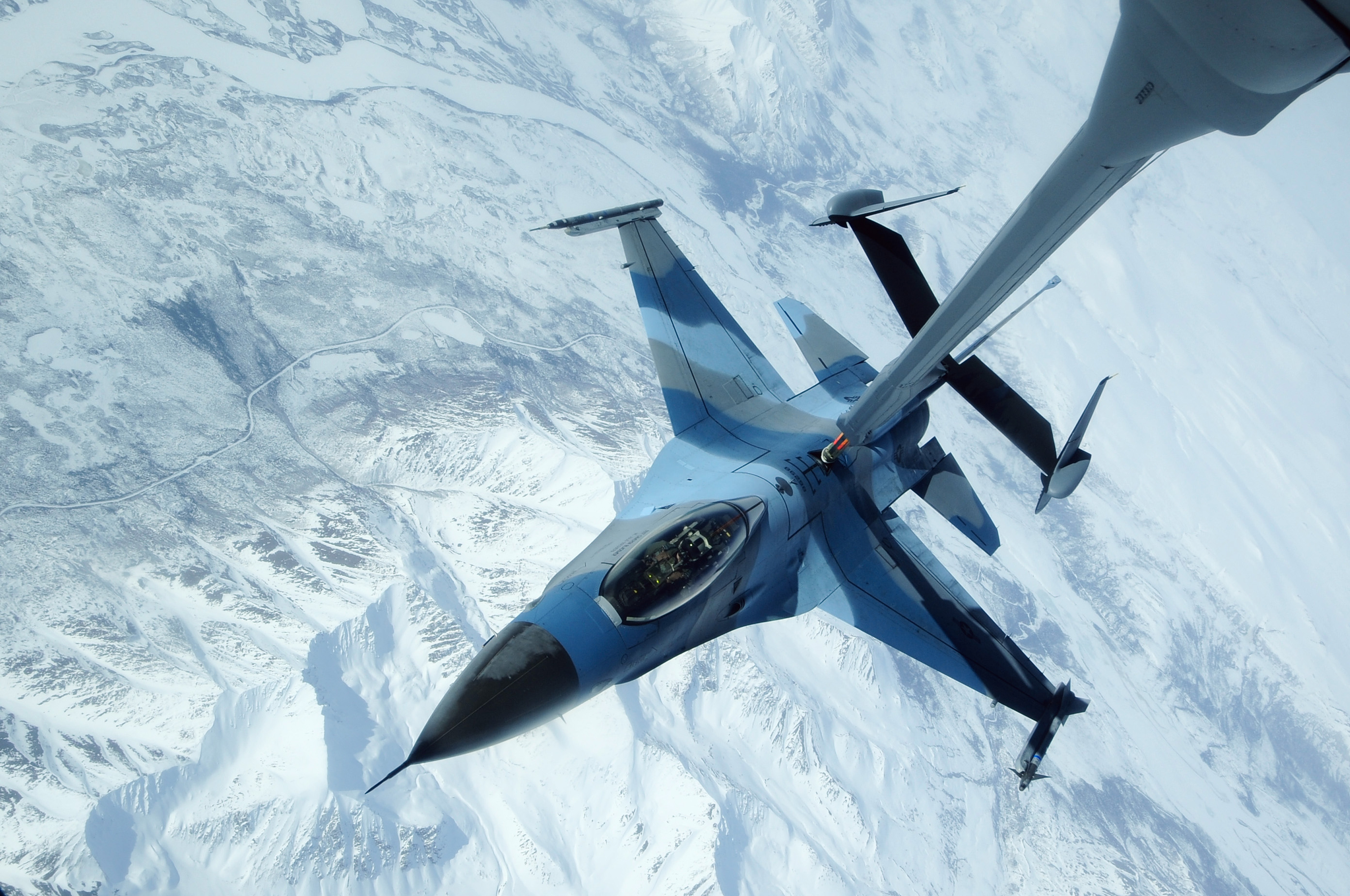 Stock Photo of a U.S. Air Force Jet Being Refueled.