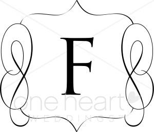 Classic Monogram F Clipart.