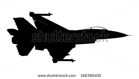 Vector Silhouette Of The Fighter Jet F 16 In Flight 166390400.