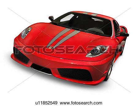 Stock Photograph of Red Ferrari F430 Scuderia sports car Isolated.