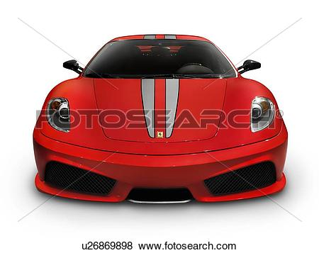 Pictures of Red Ferrari F430 Scuderia sports car front view.