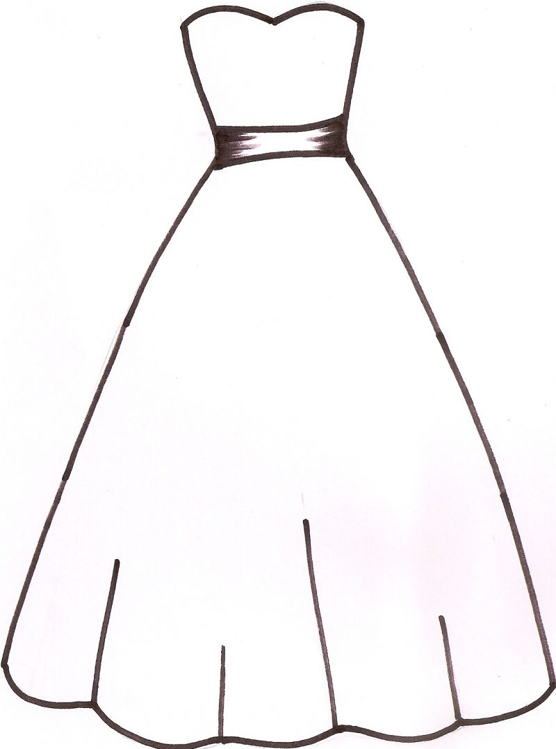 Clipart outline of f bride dress.
