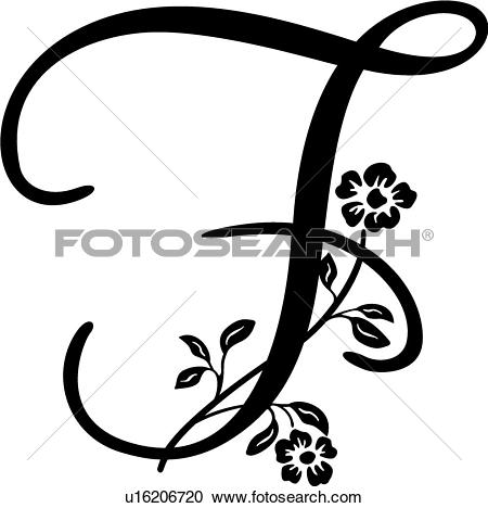 Clipart of , alphabet, capital, f, monogram, script, lettered.