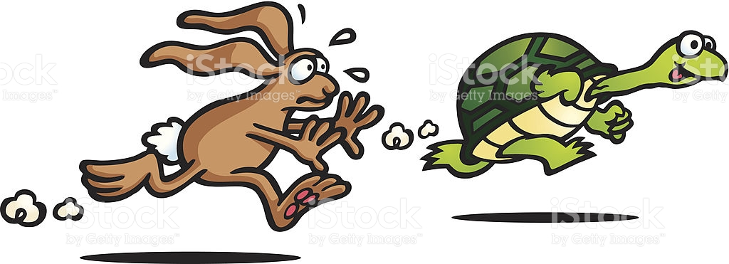 Illustration Of The Tortoise And The Hare Fable stock vector art.