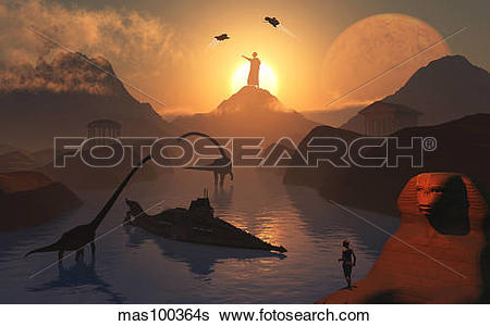 Stock Illustration of The fabled City of Atlantis set in the time.