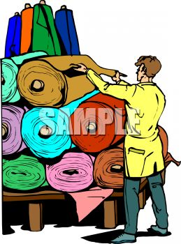 Rolls of fabric clipart.