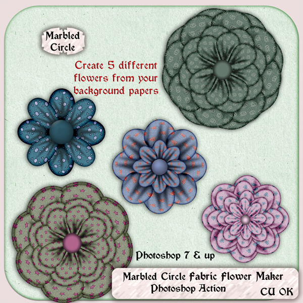 A Marbled Circle CU Photoshop Action Fabric Flower Maker.