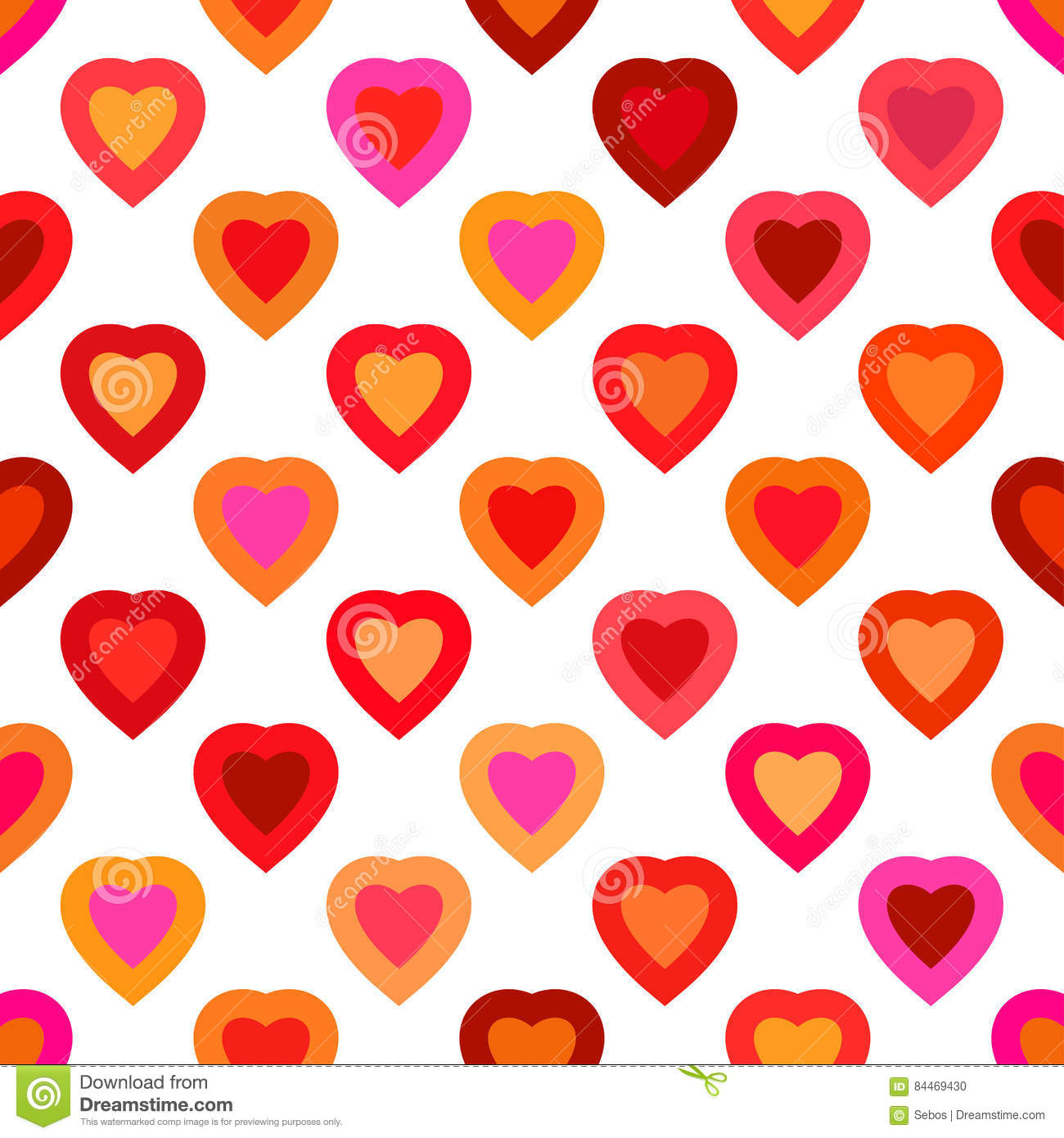 Seamless Colorful Vector Hearts Pattern. Texture For Cover, Paper.