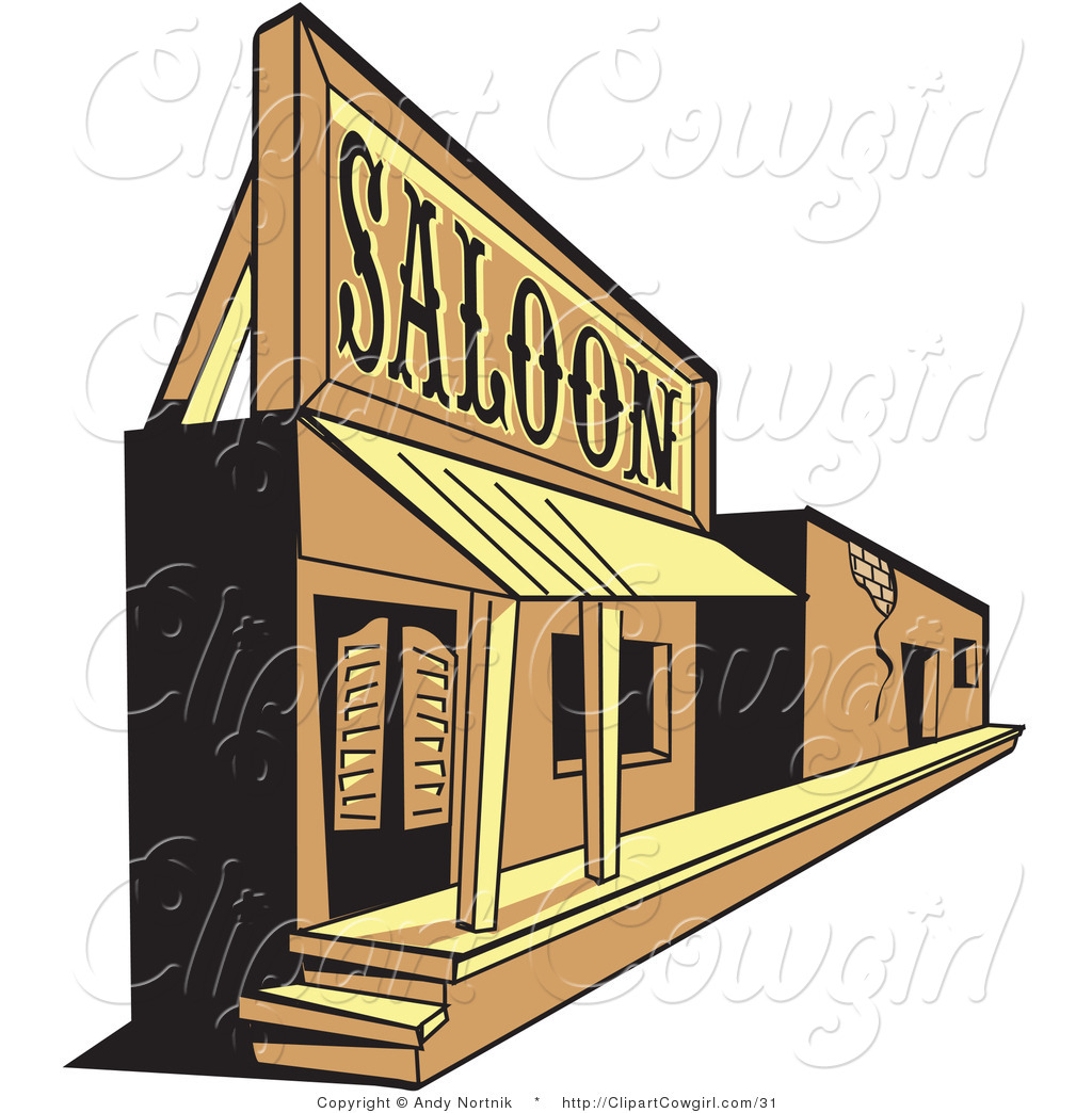 Vector Clipart of a Wild West Ghost Town Saloon and Facade by Andy.