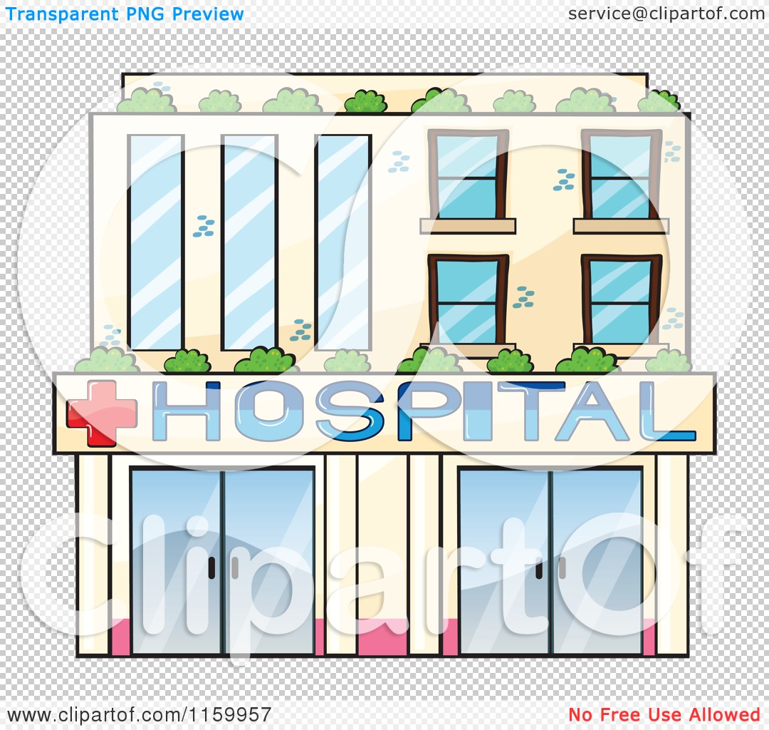 Cartoon of a Hospital Building Facade.