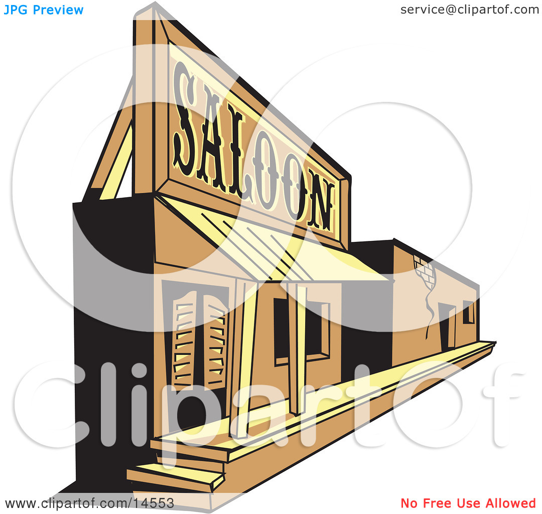 Old Saloon Facade in a Ghost Town Clipart Illustration by Andy.
