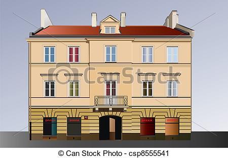 Vector Clip Art of Classical facade.