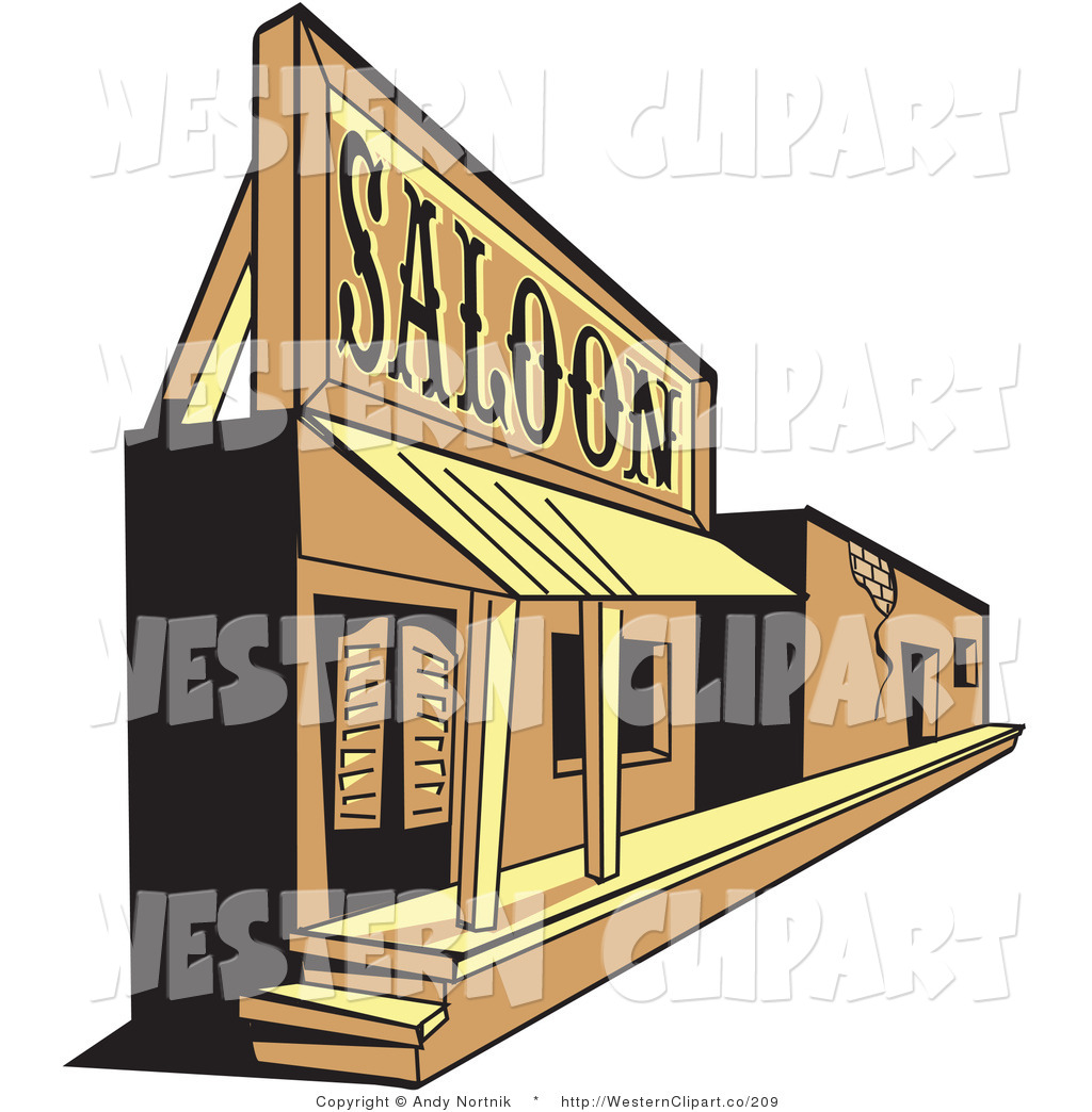 Vector Western Clip Art of an Old Wood Saloon Facade in a Ghost.