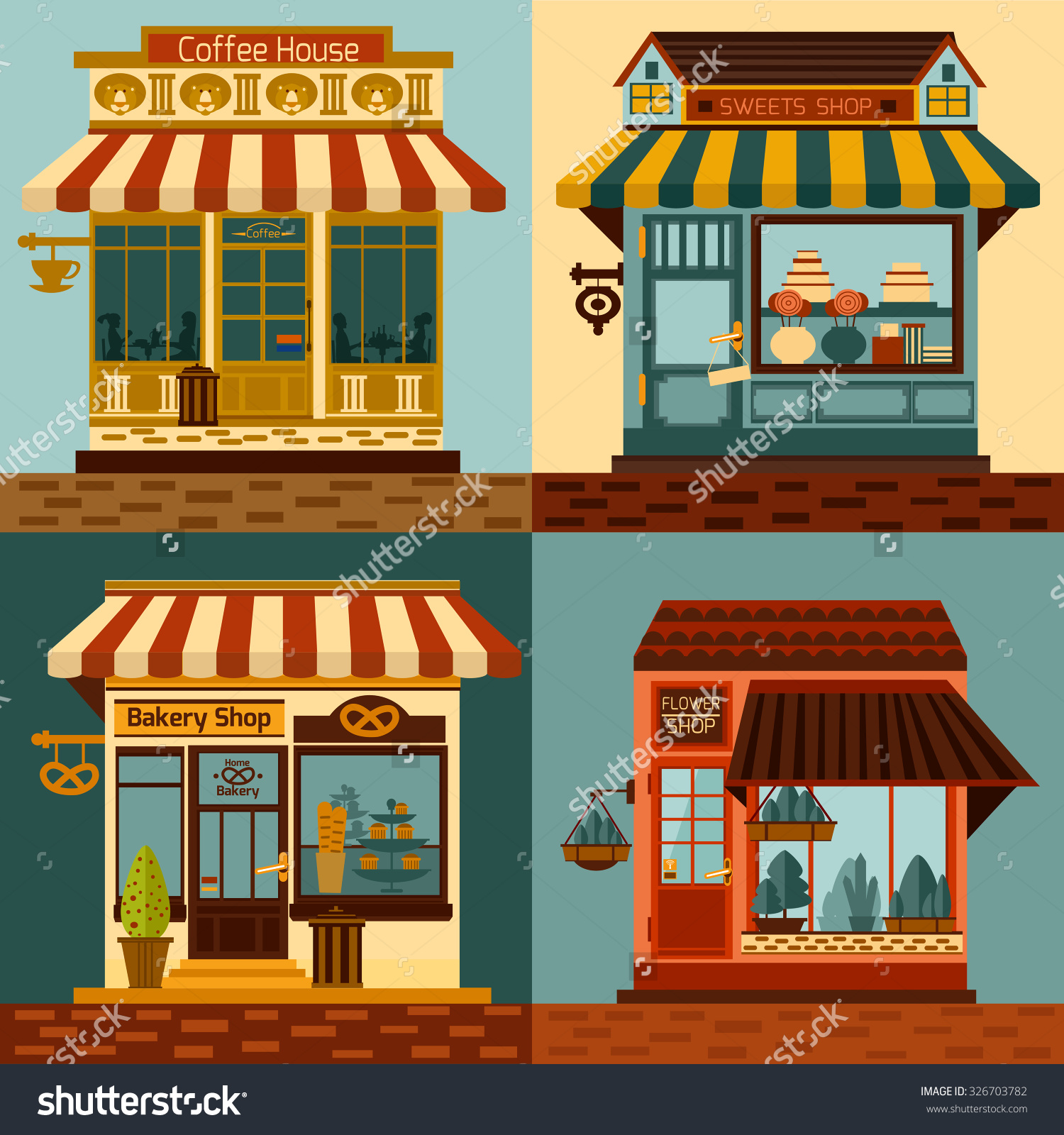 Shops Facades Set Sweets Bakery Coffee Stock Vector 326703782.