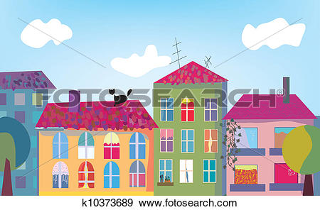 Stock Illustration of Town and houses facades cartoon k10373689.