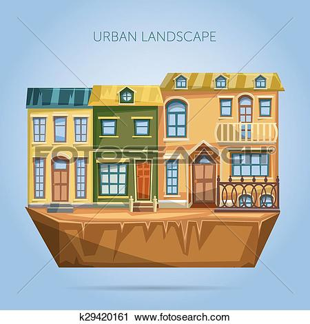 Clipart of City houses facades. Flat design ur k29420161.
