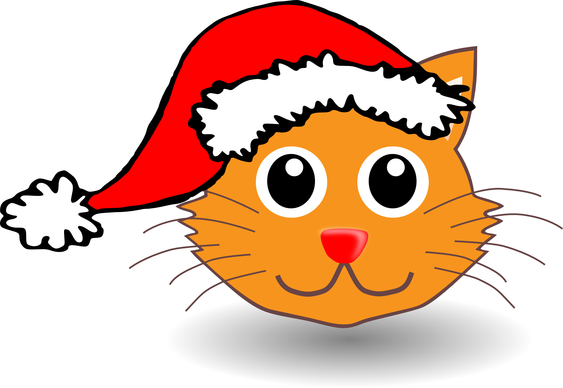 Cat clipart with santa cat.