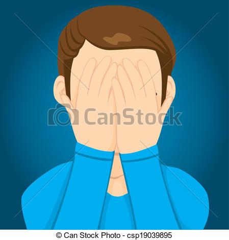 EPS Vectors of Sad Man Covering Face.