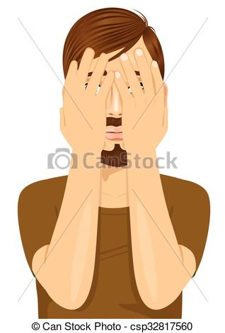 Clip Art Vector of young man covering his face with hands.