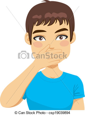 EPS Vectors of Man Covering Mouth With Hand.