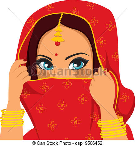 Clipart Vector of Indian Woman Covering Face.
