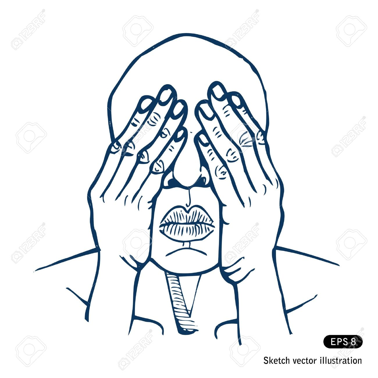 Clipart person covering eyes.