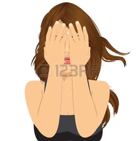 Woman hands on face clipart.
