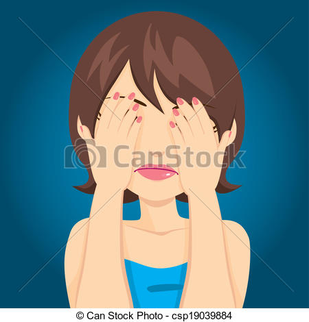 Vector of Sad Woman Covering Eyes.