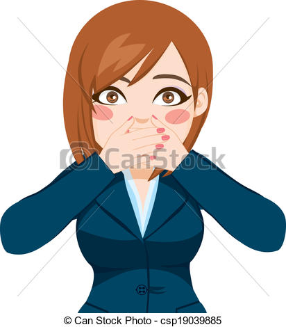Vector of Woman Covering Mouth With Hands.