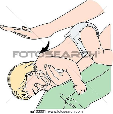 Clipart of Infant is held lying face down along the length of an.