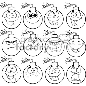 10835 Royalty Free RF Clipart Black And White Bomb Face Cartoon Mascot  Character With Emoji Expressions Vector Illustration clipart. Royalty.