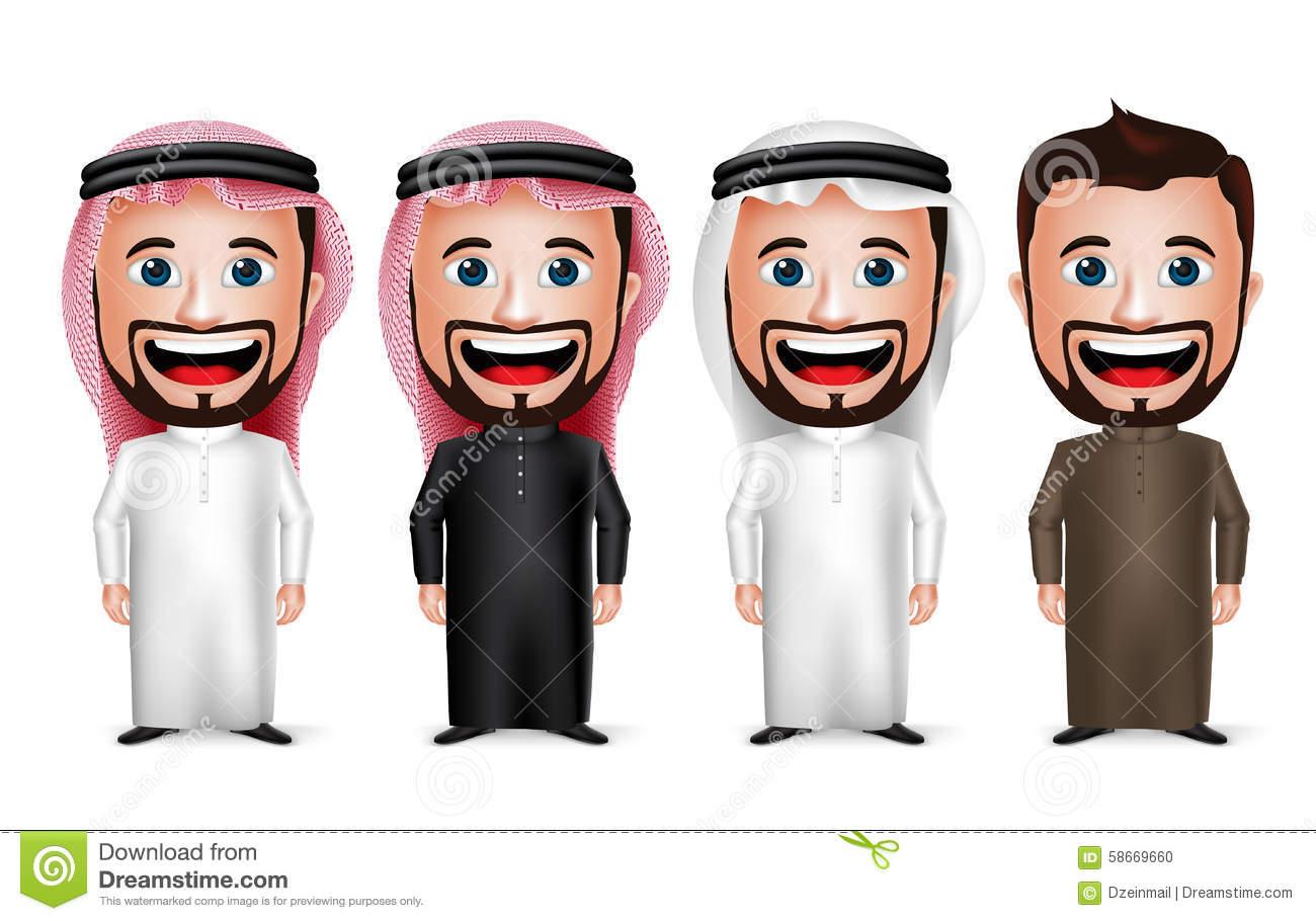 3D Realistic Saudi Arab Man Cartoon Character Wearing Different.