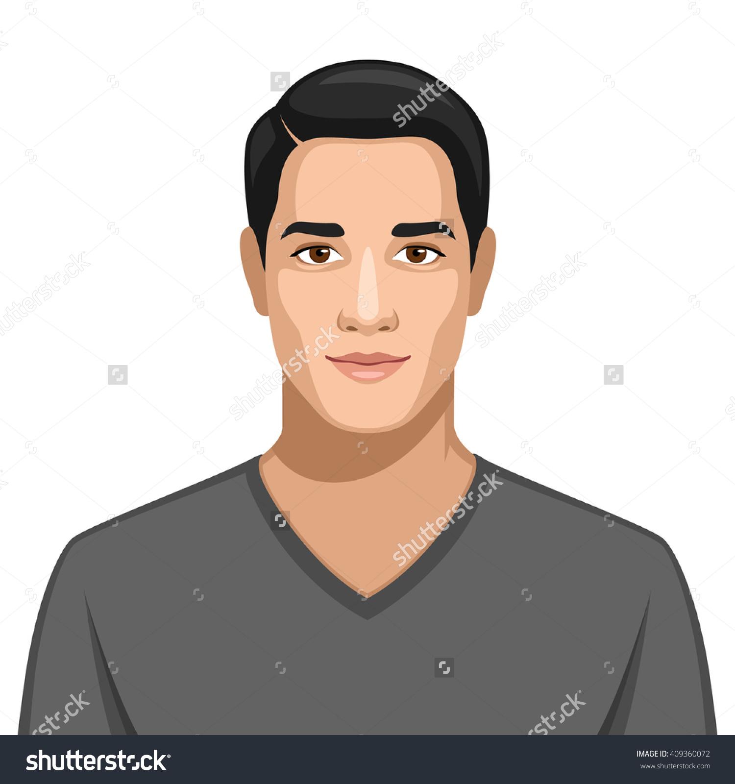 Arab Man Portrait Stock Vector 409360072.