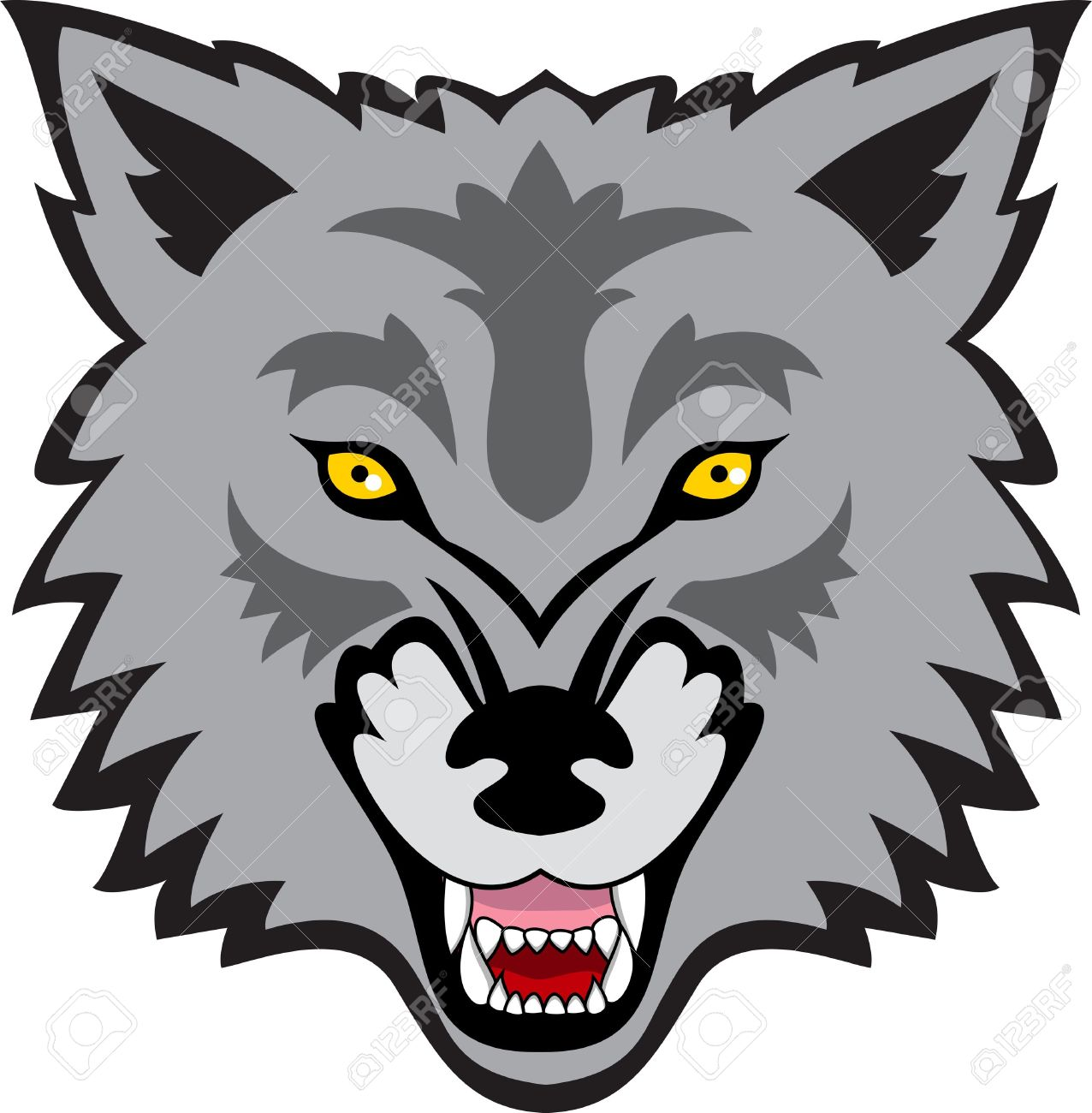 Clipart wolf face.