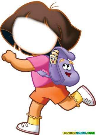 Dora cartoon. Insert Face in Hole. Wallpaper.