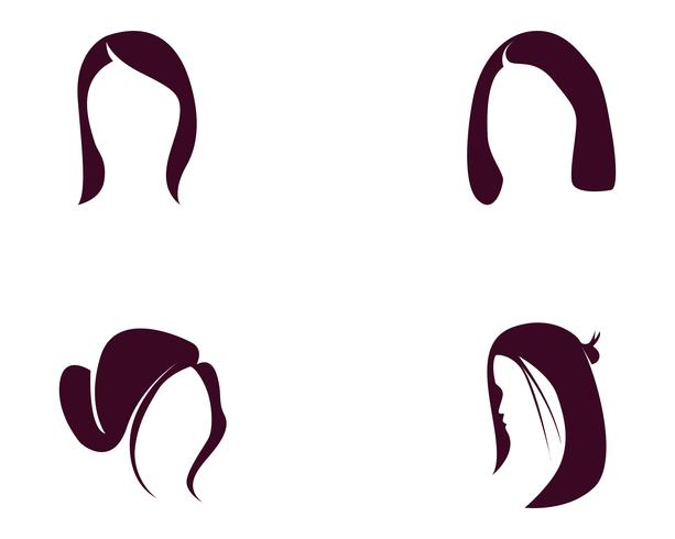 hair woman and face logo and symbols ,,.