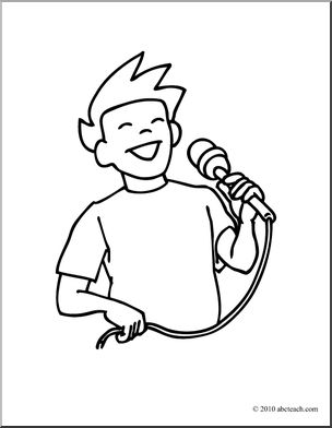 Clip Art: Boy Singing (coloring page).