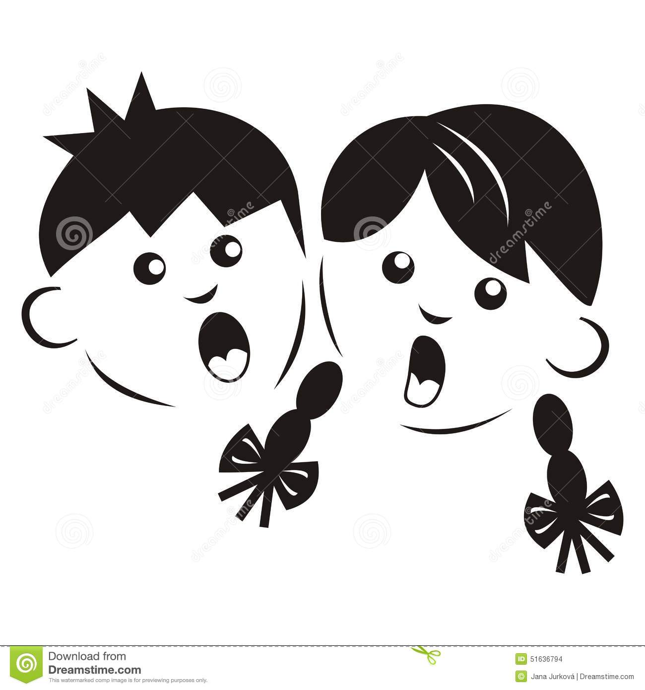 Boy And Girl , Silhouette Stock Vector.
