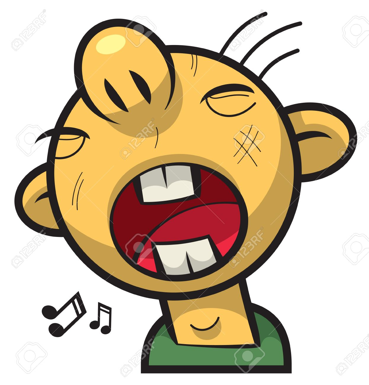 Singing Boy With Round Face And Big Mouth Royalty Free Cliparts.