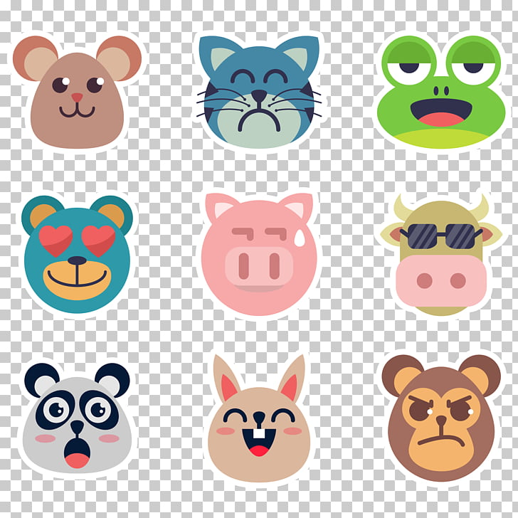 Sticker , animal face sticker PNG clipart.