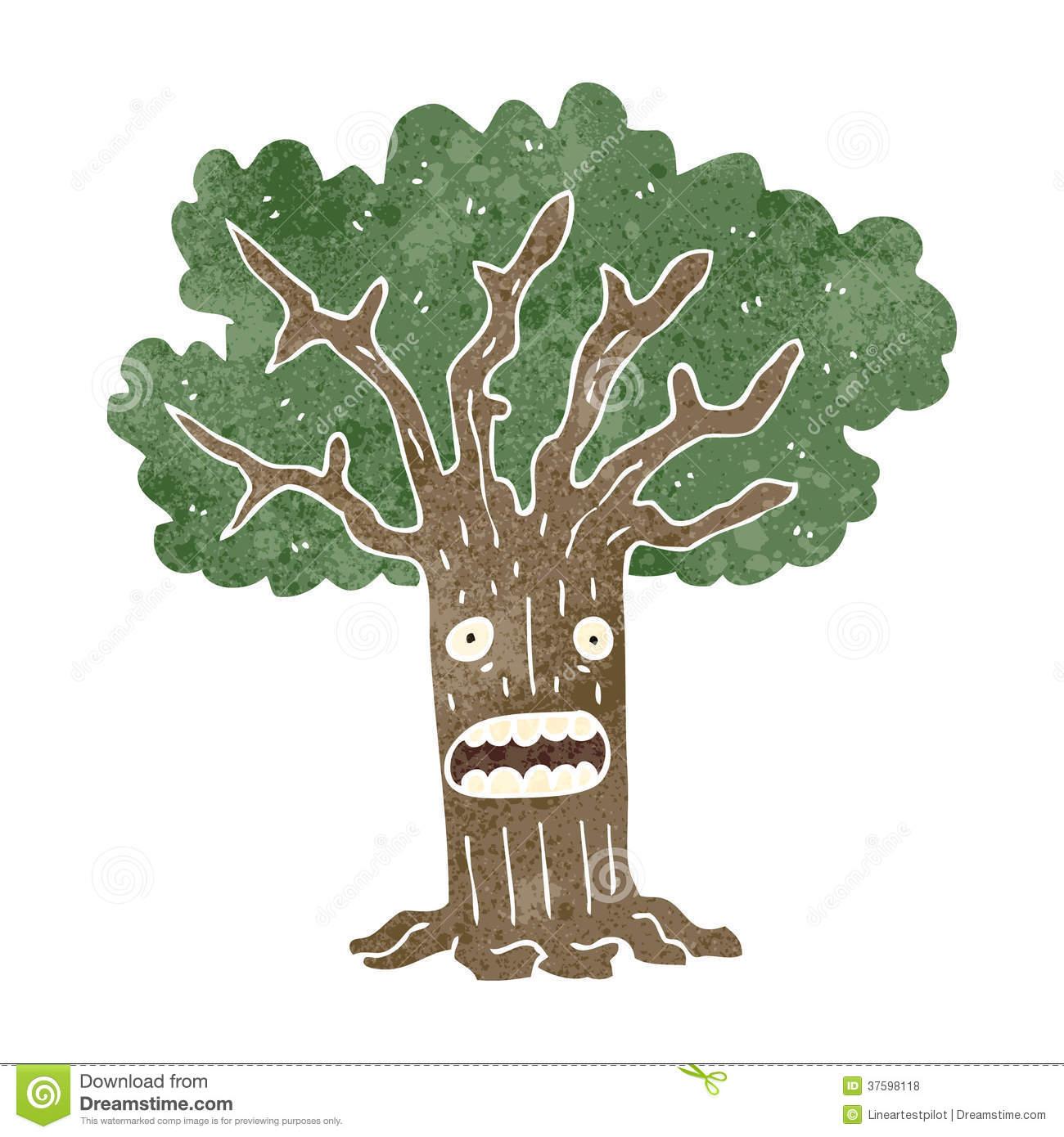 Retro Cartoon Tree With Worried Face Royalty Free Stock Photos.