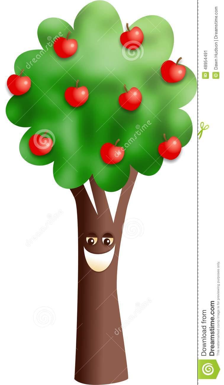 Happy Apple Tree Stock Illustration.