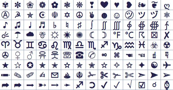 Facebook Symbols (ASCII + Unicode).