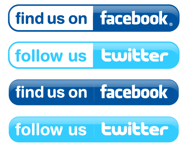 Facebook and twitter buttons vector free clipart image.