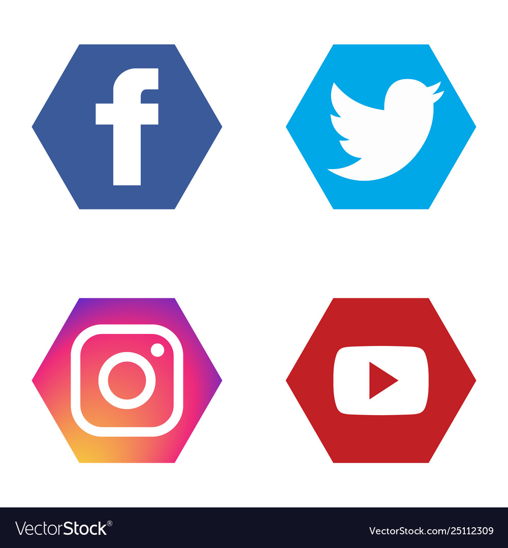Social icons set fb twitter instagram youtube.