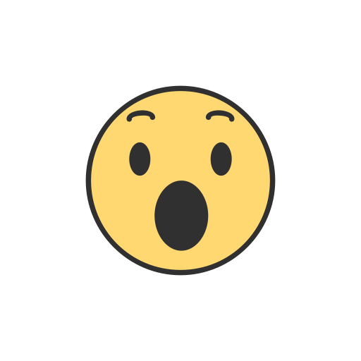 Emoji, facebook, reaction, shocked emoji icon.