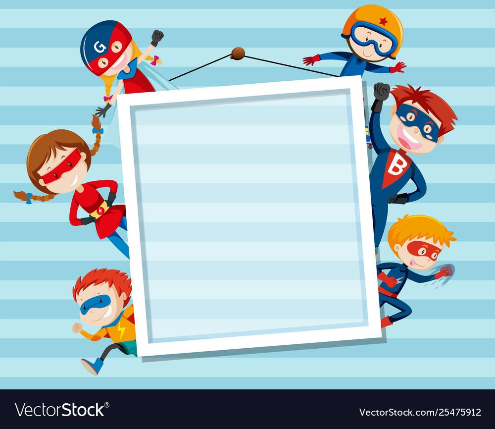 Set og superhero on frame.