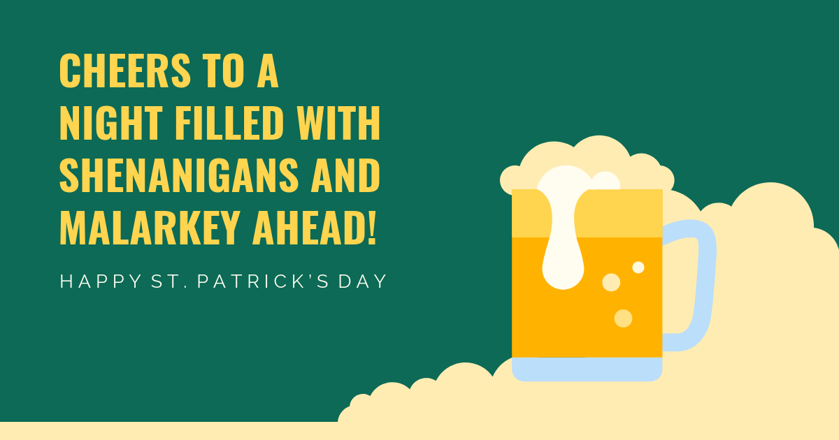 Cheers St. Patrick\'s Day Facebook Post Template.