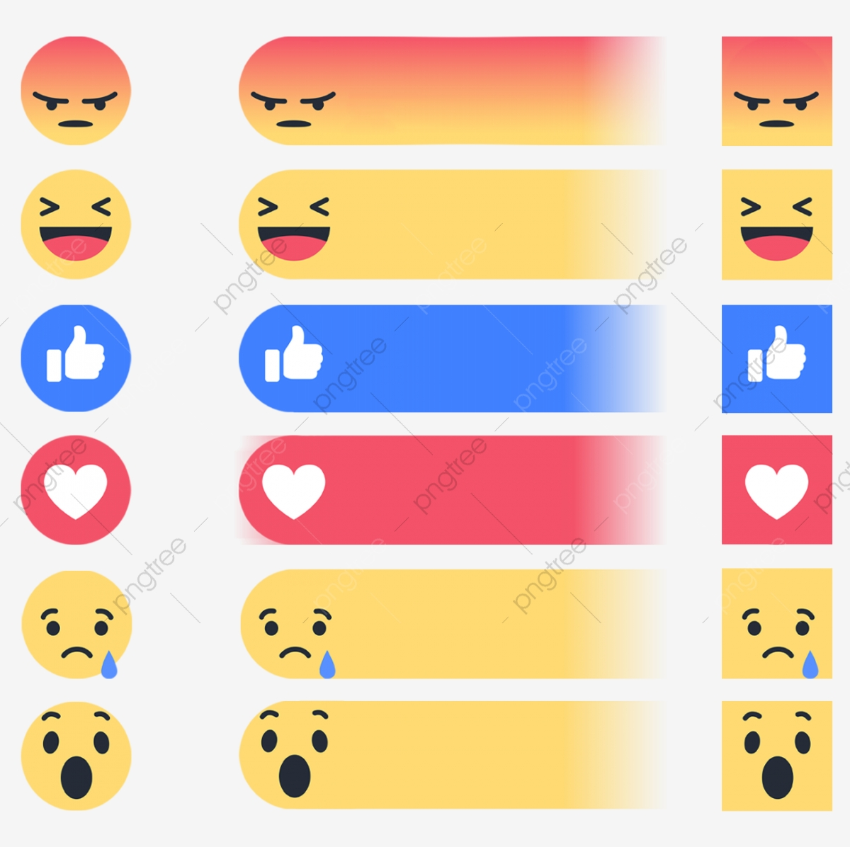 Facebook Edited Reactions, Reactions, Facebook Reactions, React PNG.